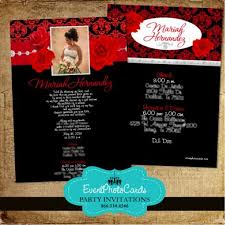 wedding invitations red and silver red roses u0026 silver black quinceanera invites photo invites