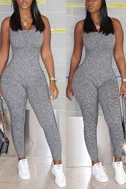 one jumpsuits v neck sleeveless backless grey polyester one
