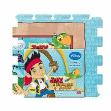 tappeto puzzle disney tappeto puzzle tappetino morbido jake il pirata 6 pz 30x30cm
