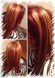 blonde hair with chunky highlights black hair with red chunky highlights