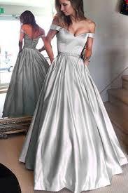 light gray long dress off shoulder sliver floor length satin prom dresses hs130 simi