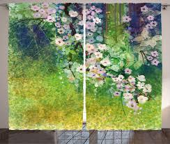 Cherry Blossom Curtains Japanese Decor Curtains Cherry Blossom Window Drapes 2 Panel Set