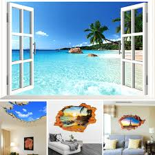 beach room decor ebay 3d beach window view scenery wall stickers vinyl art mural decal home room decor