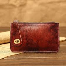 Cowhide Leather Purses Designer Natural Cowhide Leather Purse With String Trifold Buffalo