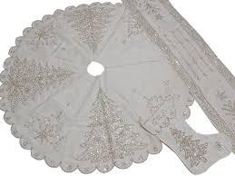 white tree skirt runner set novelty beaded