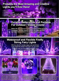 outdoor battery fairy lights amazon com yihong 6pcs fairy lights pink purple led string