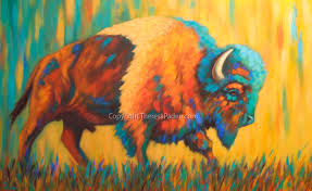 paintings by theresa paden southwest art bison painting in bright