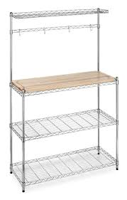 Iron Bakers Rack Industrial Kitchen Design With Whitmor Maple Wood Top Bakers Rack