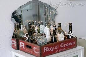 Vintage Beach Decor Coastal Beach Decoration With Bottles And Lights In A Vintage Crate