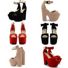 ladies platform high chunky heel peep toe ankle strap sandals