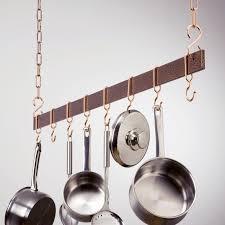 kitchen pot racks with lights hammered copper hanging bar pot rack hayneedle
