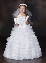 communion dress white ruffled princess communion gown