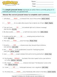 complete sentences by choosing correct present tense of verb