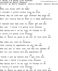 U Got It Bad Lyrics I Think I U0027m Gonna Live Forever By Merle Haggard Lyrics And Chords
