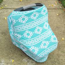 stretchy car seat cover canopy teal tribal aztec