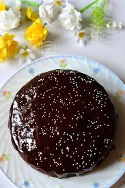 eggless chocolate beetroot cake with cocoa ganache cooking from