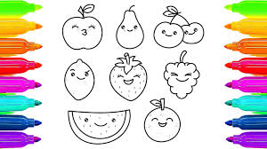 fruits drawing animation and colours for kids how to draw and