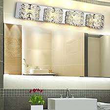 modern stainless steel led clear crystals bath vanity light wall
