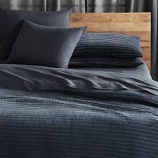 channeled navy velvet bedding cb2