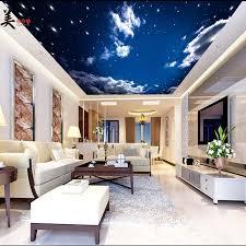 chambre ciel étoilé pvc stretch nuages ciel étoilé papier peint au plafond 3d photo