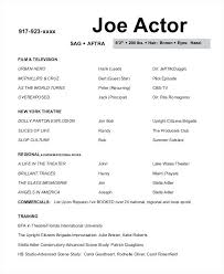Resume Acting Template by Actors Resume Template Reflection Pointe Info