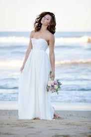 white lace and chiffon strapless floor length beach wedding dress