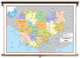 Map Of Cambodia Cambodia Political Educational Wall Map From Academia Maps