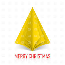 abstract yellow origami christmas tree on white background vector