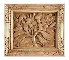 wood relief panel frangipani flowers wall carved 17