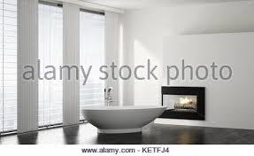 Minimalist Bathtub Freestanding Bathtub In A Modern White Luxury Bathroom Interior