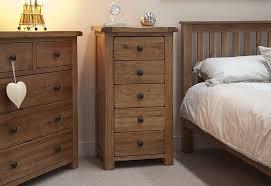 Pine And Oak Furniture Furniture Rustic Oak Bed With Slats Headboard And Tall Nightstand