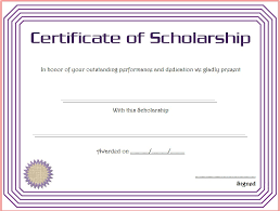 templates for scholarship awards certificate of scholarship 8 the best template collection