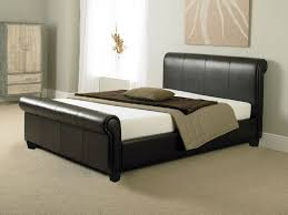 Black Leather Sleigh Bed Home Design Black Leather Sleigh Bed King All Inside Frame 81