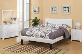 poundex white leather platform bed huntington beach furniture