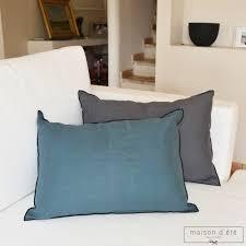 linge lit lin coussin en lin épais bleu canard bourdon noir 35x50