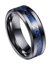 black metal rings images Tanyoyo 8mm blue black dragon pattern beveled edges celtic rings jpg