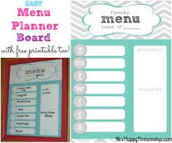 printable meal planner free easy menu planner board mrs happy homemaker