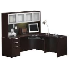 Executive L Desk by Executive L Shaped Credenza Desk With Glass Doors Hutch