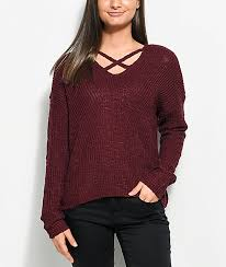 maroon sweater almost max crisscross burgundy sweater zumiez