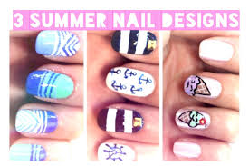 3 summer nail designs ice cream cone nautical julie g youtube