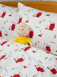 Snoopy Bed Set Peanuts Flannel Sheet Set Bedding With Snoopy And Woodstock