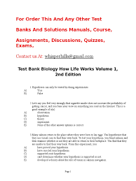 test bank biology how life works volume 1 2nd edition rtf cell