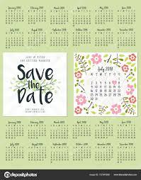calendrier mariage enregistrez la date modèle de conception de cartes recto verso d