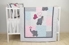 baby blanket pink gray elephant quilt blue crib bedding