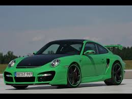 green porsche 911 2007 techart gtstreet based on porsche 911 997 turbo green front