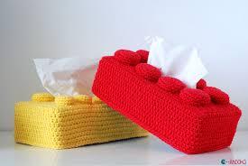 how to crochet a lego brick tissue box cover tutorial