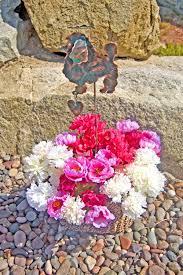 Copper Garden Art Poodle Angel Pet Memorial Metal Garden Art Stake Copper Garden