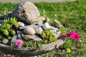 birdbath rock garden upcyle project mom foodie