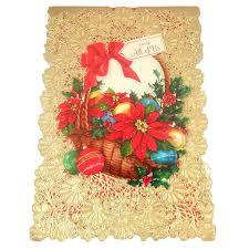 vintage hallmark christmas card w die cut lace doily cover