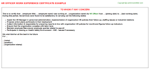 sample employee of the month certificate hr officer work experience certificate